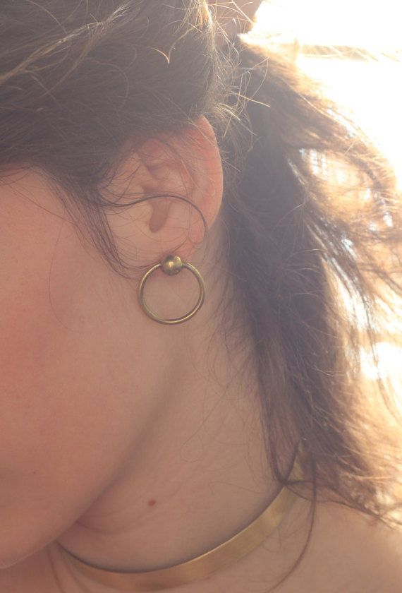 LOOP EARRINGS Brass stud earrings Geometric by NARCISSUSJEWELRY