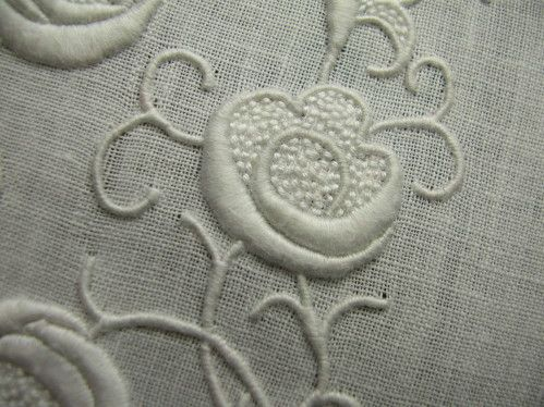 Lovely padded satin stitch with seed stitching - whitework embroidery