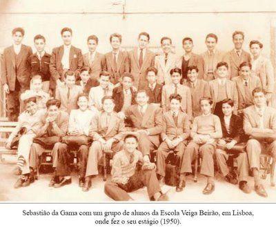 Sebastião da Gama na Escola Veiga Beirão em 1950