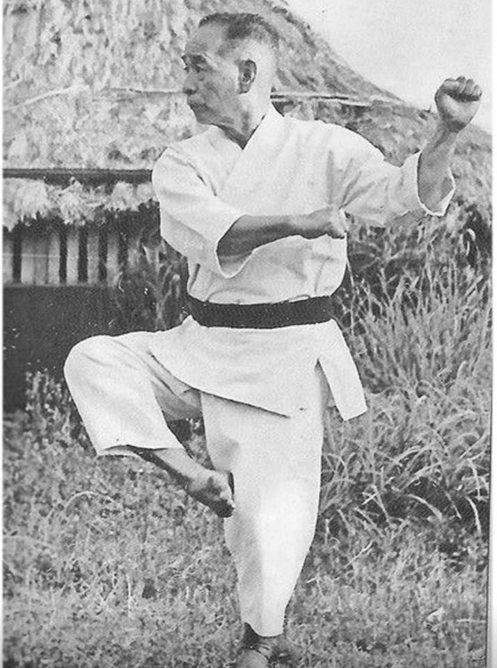 Here is Sensei Choshin Chibana ( June 5, 1885 - February 26 1969) was an Okinawan martial artist who developed Shorin-ryu karate based on what he had learned from Itsou Anko. He was also called the last warrior of Shuri. He was the first to establish a ryu Japanese name for a Okinawan karate style , calling Itsou's karate Shirin-ryu in 1928 which means ( the small Forrest style).He achieved the rank of 10th dan and when he passed in 1969 he died of throat cancer.