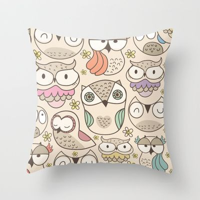 Freeshipping until monday jan.28 2013  The owling Throw Pillow by Maria Jose Da Luz - $20.00