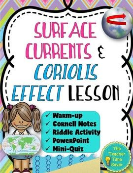 This product includes Cornell notes, an activity, a PowerPoint on the lesson, and a mini quiz PowerPoint on the surface currents and Coriolis Effect. This lesson also pairs well with BrainPOP: ocean current. This lesson is part of my Earth's Waters Unit Bundle.