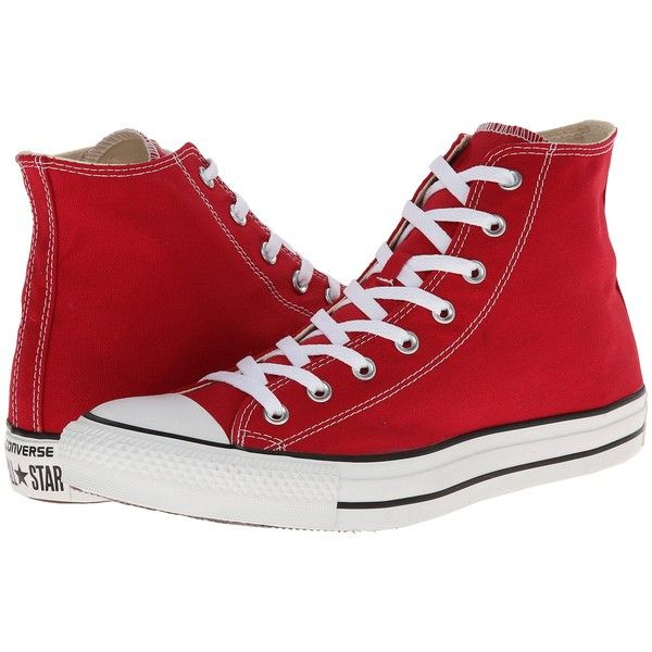 Converse Chuck Taylor All Star Seasonal Hi Classic Shoes, Red found on Polyvore featuring shoes, sneakers, converse, red, hi tops, red sneakers, converse shoes, red high top sneakers and converse trainers