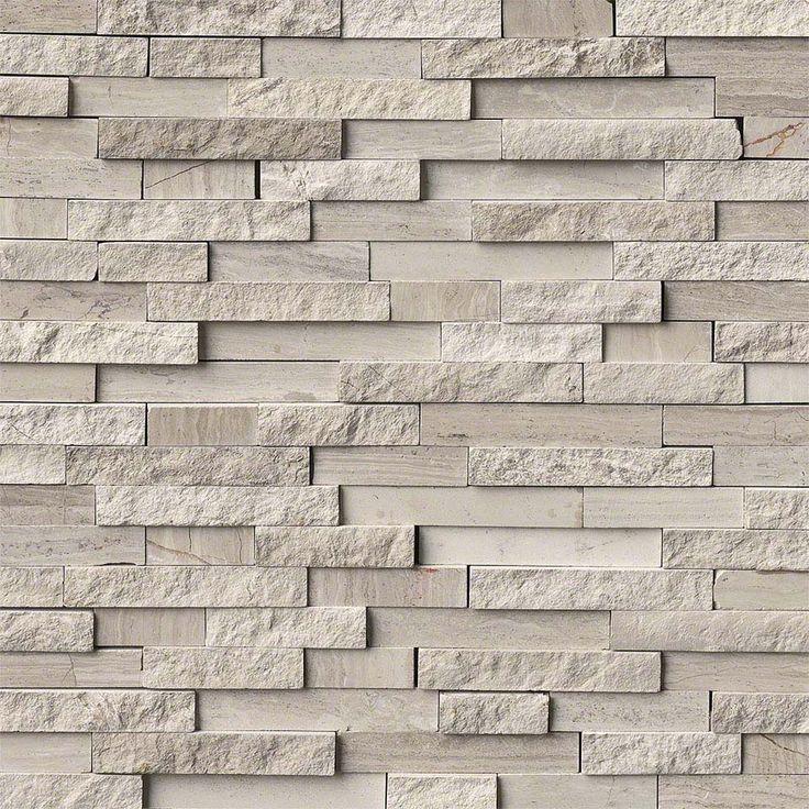 White Quarry Splitface Interlocking Pattern Fireplace