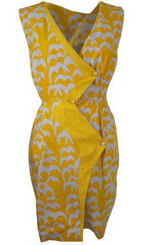 Batik Wrap Dress in Yellow