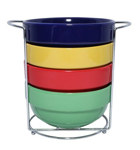 5 Piece Stackable Multi Colored Nesting Cereal Soup Bowl