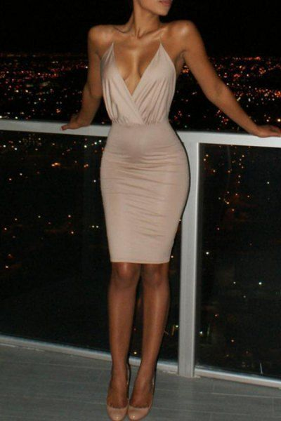 Spaghetti Strap Backless Club Dress KHAKI: Club Dresses | ZAFUL