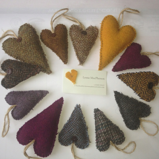 My handmade Harris Tweed Lavender Hearts  Can be purchased from my Facebook page or by contacting me directly