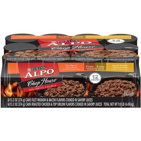 ALPO Chop House Variety Pack Dog Food 12-13.2 oz. Cans [includes 6 Filet Mignon and Bacon and 6 Roasted Chicken and Top Sirloin] -- Unbelievable dog item right here! : Dog food brands