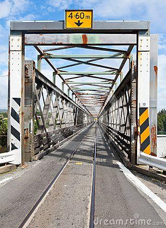 Combined one lane rail and road bridge in Hokitika, New Zealand