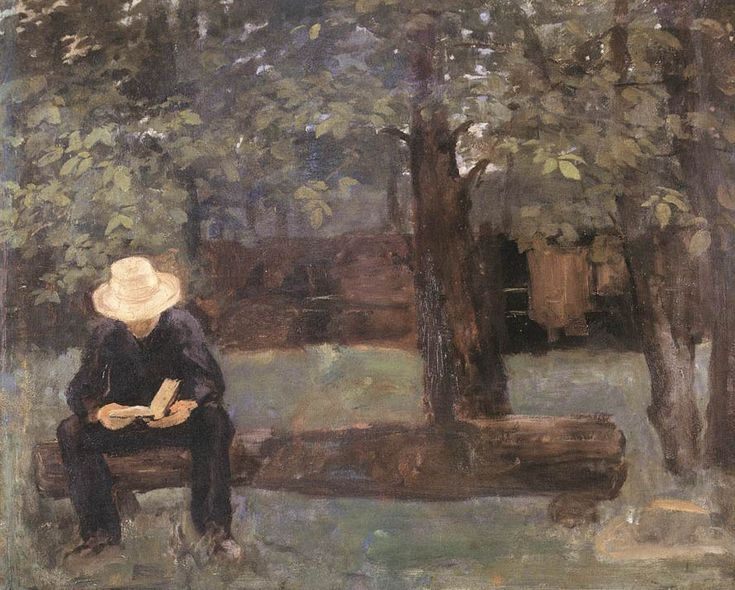 «Δεν υπάρχει γι' αυτόν καθόλου χώρος / στο καινούργιο ποίημα που θα γράψω / για την μουχλιασμένη Άνοιξη» (Károly Ferenczy, «Man sitting on a log», 1895)