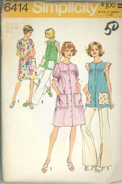 Vintage Misses' & Womens Smock Dress or Top Dress Sewing Pattern S6414 Size 16
