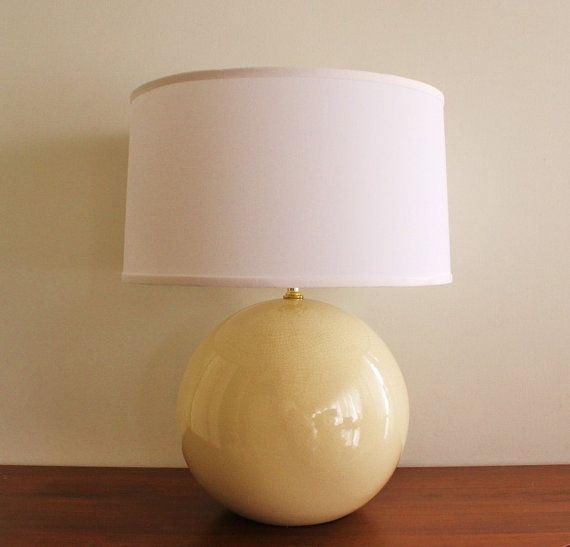 1960 round ceramic table lamp cream crackle by highstreetmarket