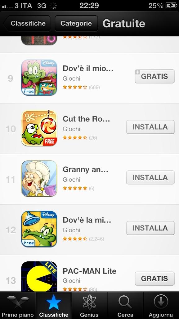 Granny and the Thief nelle classifiche tra cut the rope e un gioco della Disney.. Wow!!
