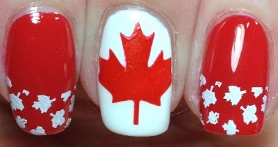 Canada Day french tipped maple leafs!