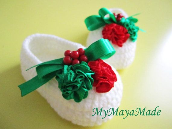 Christmas Crochet Baby Booties  4 Sizes  03mo 36mo by MyMayaMade, 24.99