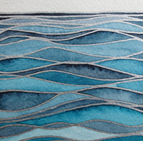 WAVES 3/ Watercolor seascape / Original wall art/ Hand painted watercolor/ Nauti…