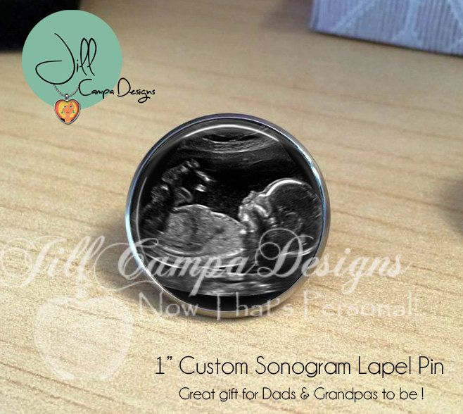 Baby sonogram lapel pin - baby ultrasound - Baby's first photo - Baby's actual sonogram - Baby Sonogram jewelry - Deployment gift for daddy by NowThatsPersonal on Etsy