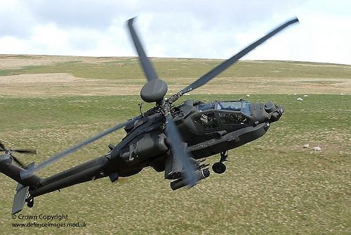 An Apache helicopter from 4 Regiment, 656 Squadron Army Air Corps, during live firing training at Otterburn Ranges in Northumberland.