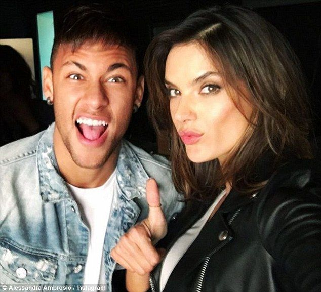 Secret mission: Alessandra posted a snap of herself and Brazilian soccer star Neymar, adding the message: 'De bobeira no set,' which means 'hanging out on set' in Spanish