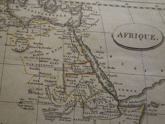 AFRICA map 200 years old map of African continent  Pinkerton