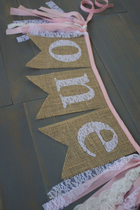 First Birthday One Lace Burlap Bunting Banner for Highchair, Birthday Party Decoration, or Photo Prop Backdrop by MsRogersNeighborhood Etsy shop