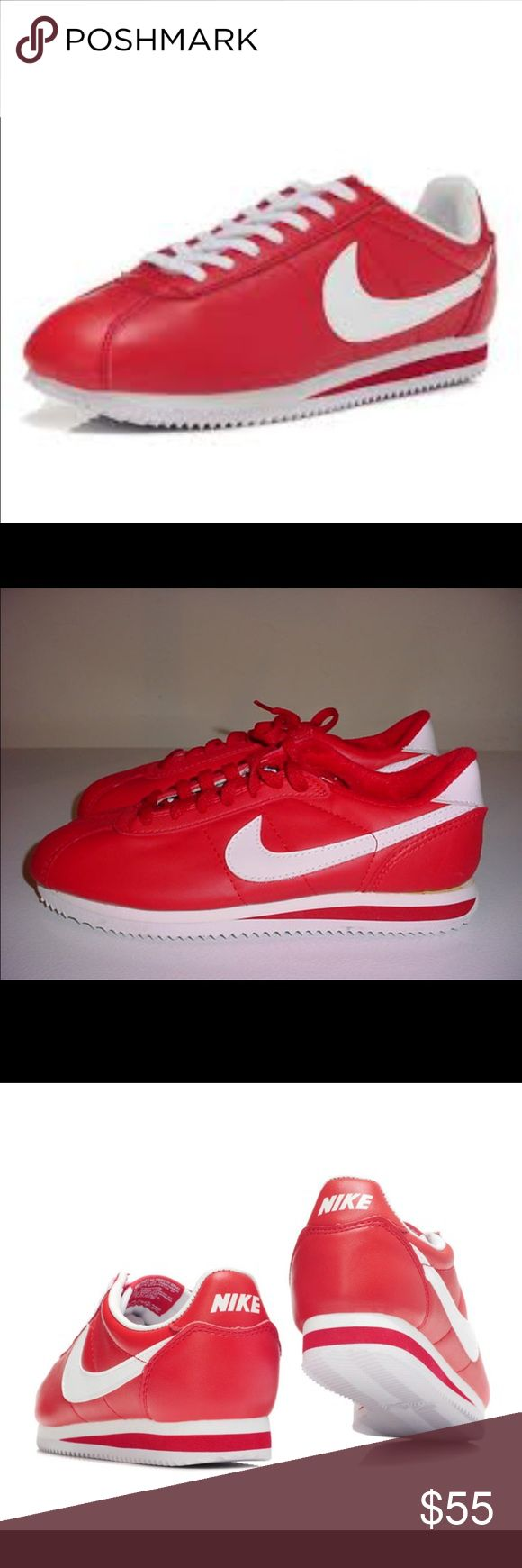 Nike Cortez Red Leather Worn once, brand new condition. Men's size 7/ women's size 8.5 Nike Shoes Sneakers