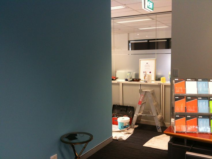 Newly painted office walls