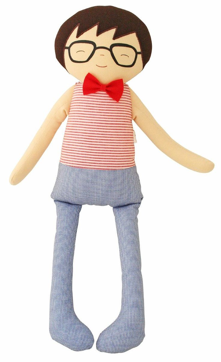 Alimrose Ted Cuddle Doll 45cm - Red Stripe - Cute Ted is now here in more colours. Soft gorgeous boy doll. Suitable from birth.