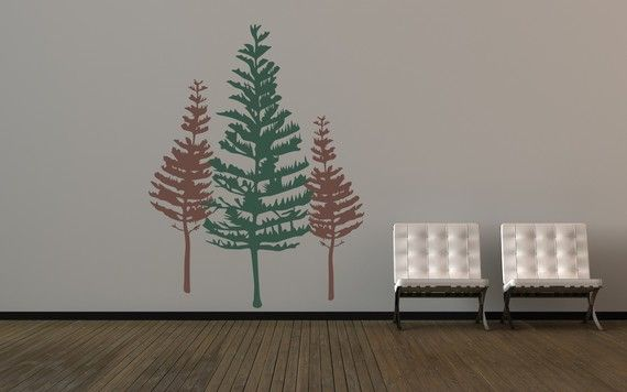 Wall Decal Tree Rustic Pine Evergreen Nature by WallStarGraphics