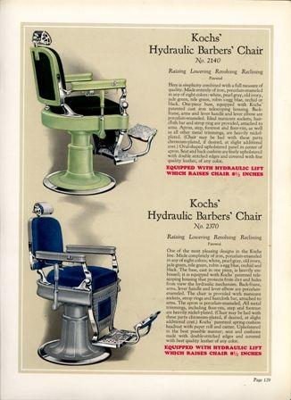 1929 Buckeye Barbers' chairs and Barber shop Equipment