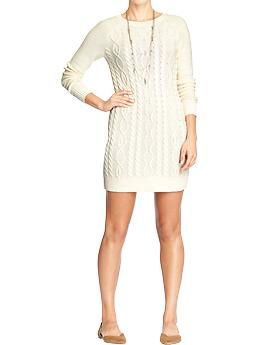 Womens Cable Knit Sweater Dresses Old Navy Cream Version