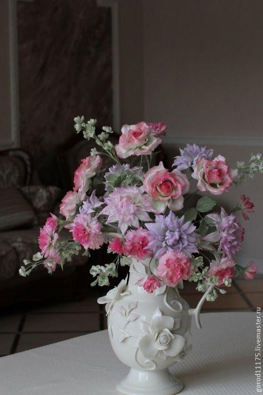 """Купить Букет """" Розовая весна"""" - розовый, шелк, флористика, роза из шелка, роза, георгин"""