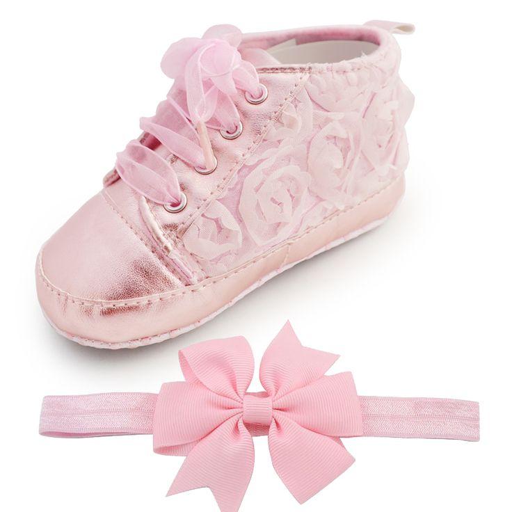 Barato O bebê Caçoa a Criança Sapato Infantil Rosa Flor Macio Menina Sole Shoes…
