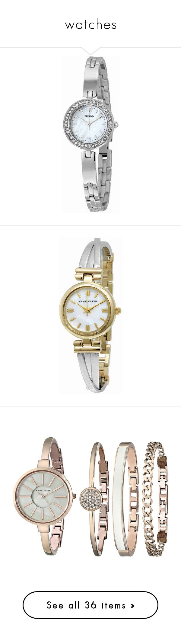"""""""watches"""" by lustydame ❤ liked on Polyvore featuring jewelry, watches, roman numeral watches, white crown, water resistant watches, dress watch, crown jewelry, stainless steel wrist watch, anne klein jewelry and stainless steel jewelry"""