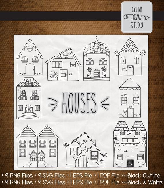 9 Houses Clip Art Bundle Hand Drawn Cottage Outline Drawing