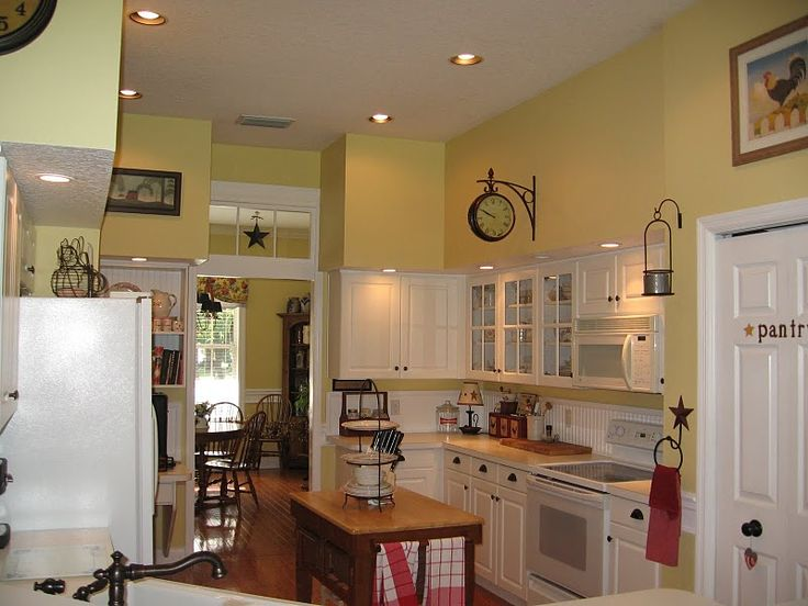 "Yellow Painted Kitchens barley"" yellow benjamin moore paint. 
