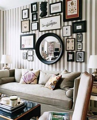 Picture frame wall: Mirror, Ideas, Living Rooms, Stripes Wall, Frames, Galleries Wall, Gallery Walls, Photos Wall, Pictures