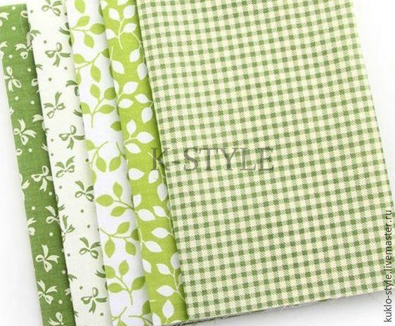 Купить Набор тканей - зеленый - салатовый, набор тканей, набор тканей для пэчворка, ткань