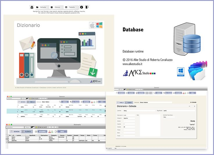 database Dizionario software per archiviare lemmi e rispettive traduzioni  www.alkestudio.it Facebook @alkestudiosalerno