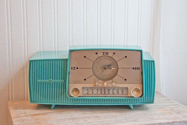 1950s Vintage Clock Radio Turquoise General Electric GE retro Atomic kitsch home decor mad men
