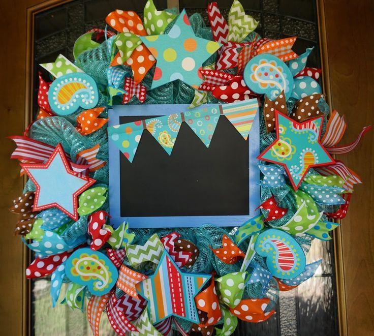 Reserved Turquoise on Dots, Classroom Wreath, School Wreath, Teacher Wreath, Classroom Decor, Classroom Door Hanger, School Door by Texascaseyscreations on Etsy