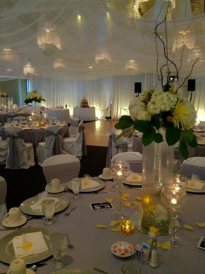 Wedding DJ Yellow Uplighting Monogram Our Rocks Venue The Tides Collocated Club Patrick Air Force Base