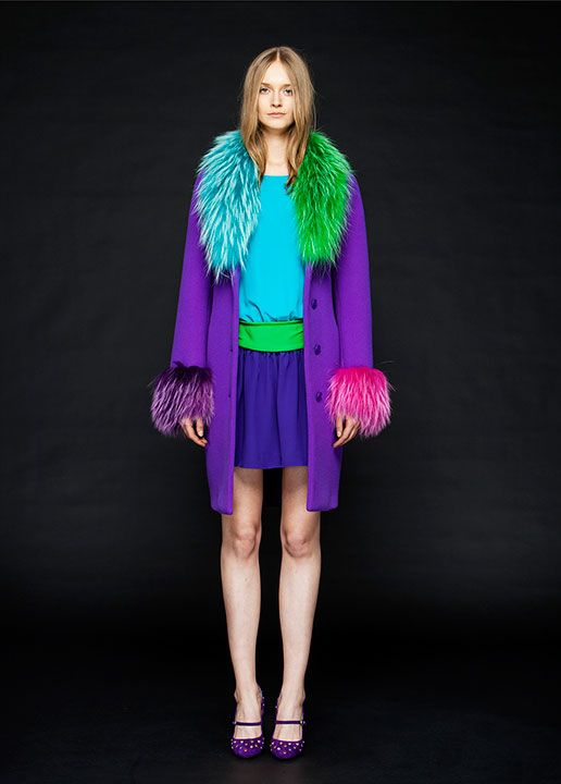 bright mixed colors of faux fur trim on purple coat by Boutique Moschino F/W 2015 - See more on www.moschino.com