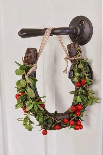 Hang mistletoe horseshoes ALL over the house!