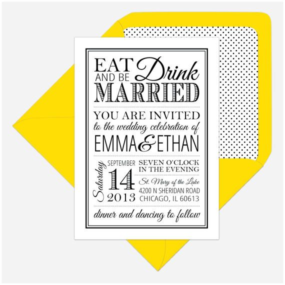 Printable Wedding Invitation and RSVP -  Eat, Drink, and Be Married Emma Suite on Etsy, $45.55 AUD