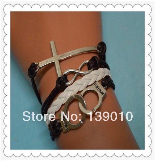 Белый черный плетеный многослойные кожаный веревка наручники крест бесконечность подвески браслеты браслеты горячая распродажа мода женщины мужчины ювелирные изделия