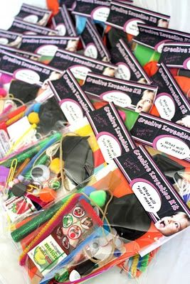 Awesome party favor bags....Invention Kits!  Lets the kids come up with their own creation.  Brilliant!