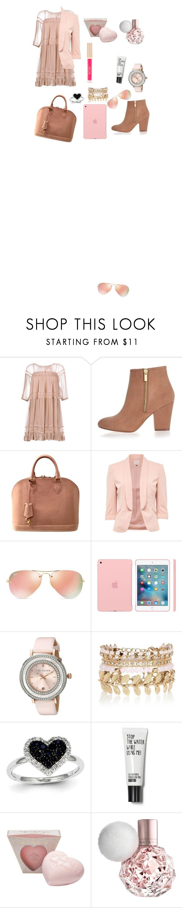 """Pink School Outfit"" by ioanastyle3005 ❤ liked on Polyvore featuring N°21, River Island, Louis Vuitton, Ray-Ban, Ted Baker, Kevin Jewelers and Stila"