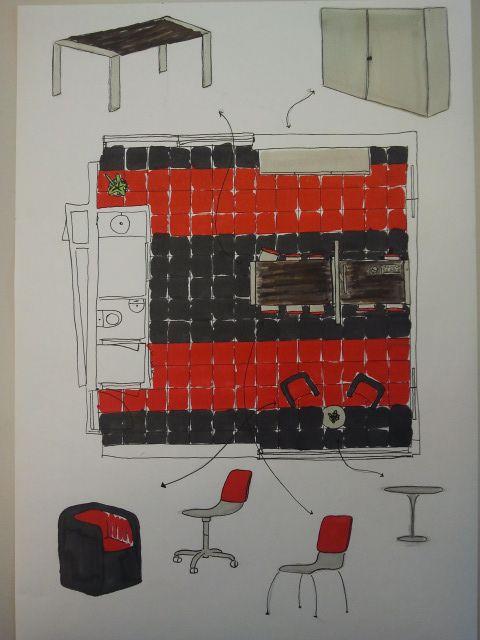 Voorlopig ontwerp inrichting kantoor grafisch ontwerpbureau 'Knalrood'